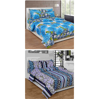 Furnishing Zone New 100% Cotton 90x90 Inches 2 Double Bedsheet With 4 Pillow Covers_FZAHCottonDBCOMB183