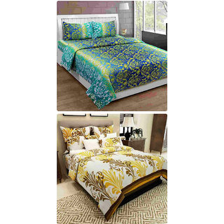Furnishing Zone New 100% Cotton 90x90 Inches 2 Double Bedsheet With 4 Pillow Covers_FZAHCottonDBCOMB480