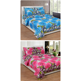 Furnishing Zone New 100% Cotton 90x90 Inches 2 Double Bedsheet With 4 Pillow Covers_FZAHCottonDBCOMB184