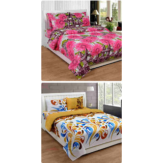 Furnishing Zone New 100% Cotton 90x90 Inches 2 Double Bedsheet With 4 Pillow Covers_FZAHCottonDBCOMB345