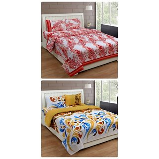 Furnishing Zone New 100% Cotton 90x90 Inches 2 Double Bedsheet With 4 Pillow Covers_FZAHCottonDBCOMB425