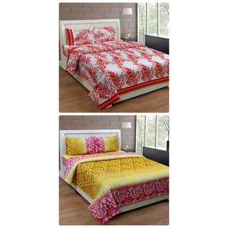 Furnishing Zone New 100% Cotton 90x90 Inches 2 Double Bedsheet With 4 Pillow Covers_FZAHCottonDBCOMB426
