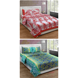 Furnishing Zone New 100% Cotton 90x90 Inches 2 Double Bedsheet With 4 Pillow Covers_FZAHCottonDBCOMB427