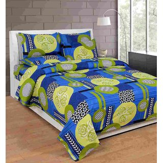 Furnishing Zone New 100% Cotton 90x90 Inches 1 Double Bedsheet With 2 Pillow Covers_FZAHCottonDBR018