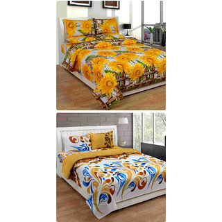 Furnishing Zone New 100% Cotton 90x90 Inches 2 Double Bedsheet With 4 Pillow Covers_FZAHCottonDBCOMB263