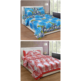 Furnishing Zone New 100% Cotton 90x90 Inches 2 Double Bedsheet With 4 Pillow Covers_FZAHCottonDBCOMB189