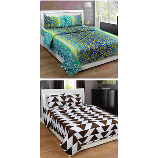Furnishing Zone New 100% Cotton 90x90 Inches 2 Double Bedsheet With 4 Pillow Covers_FZAHCottonDBCOMB483