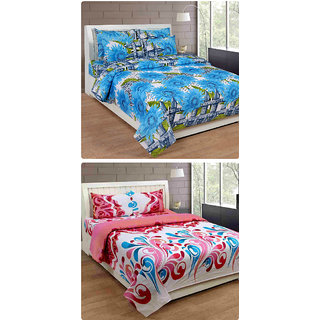 Furnishing Zone New 100% Cotton 90x90 Inches 2 Double Bedsheet With 4 Pillow Covers_FZAHCottonDBCOMB190