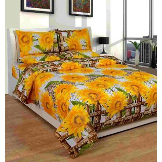Furnishing Zone New 100% Cotton 90x90 Inches 1 Double Bedsheet With 2 Pillow Covers_FZAHCottonDBR019