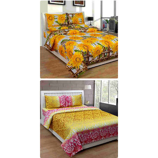 Furnishing Zone New 100% Cotton 90x90 Inches 2 Double Bedsheet With 4 Pillow Covers_FZAHCottonDBCOMB264