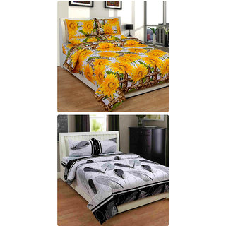 Furnishing Zone New 100% Cotton 90x90 Inches 2 Double Bedsheet With 4 Pillow Covers_FZAHCottonDBCOMB270