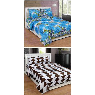 Furnishing Zone New 100% Cotton 90x90 Inches 2 Double Bedsheet With 4 Pillow Covers_FZAHCottonDBCOMB203