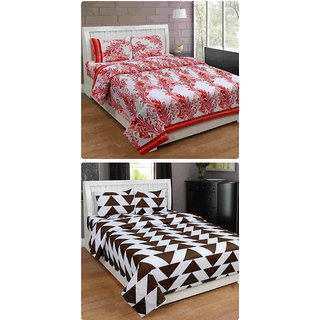 Furnishing Zone New 100% Cotton 90x90 Inches 2 Double Bedsheet With 4 Pillow Covers_FZAHCottonDBCOMB437