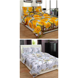 Furnishing Zone New 100% Cotton 90x90 Inches 2 Double Bedsheet With 4 Pillow Covers_FZAHCottonDBCOMB271