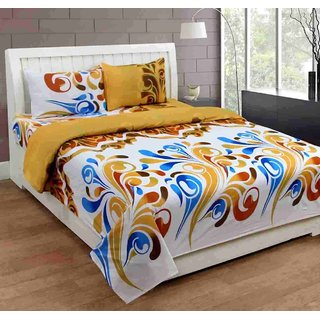 Furnishing Zone New 100% Cotton 90x90 Inches 1 Double Bedsheet With 2 Pillow Covers_FZAHCottonDBR030