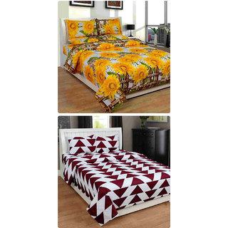 Furnishing Zone New 100% Cotton 90x90 Inches 2 Double Bedsheet With 4 Pillow Covers_FZAHCottonDBCOMB274