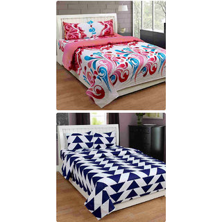 Furnishing Zone New 100% Cotton 90x90 Inches 2 Double Bedsheet With 4 Pillow Covers_FZAHCottonDBCOMB441