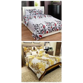 Furnishing Zone New 100% Cotton 90x90 Inches 2 Double Bedsheet With 4 Pillow Covers_FZAHCottonDBCOMB497