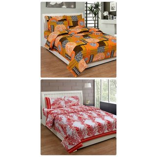 Furnishing Zone New 100% Cotton 90x90 Inches 2 Double Bedsheet With 4 Pillow Covers_FZAHCottonDBCOMB361