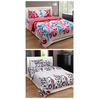 Furnishing Zone New 100% Cotton 90x90 Inches 2 Double Bedsheet With 4 Pillow Covers_FZAHCottonDBCOMB442