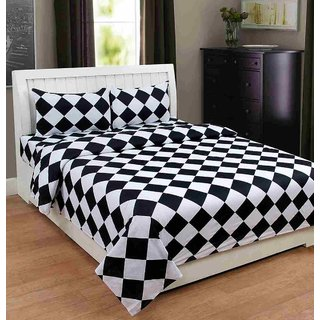 Furnishing Zone New 100% Cotton 90x90 Inches 1 Double Bedsheet With 2 Pillow Covers_FZAHCottonDBR026