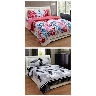 Furnishing Zone New 100% Cotton 90x90 Inches 2 Double Bedsheet With 4 Pillow Covers_FZAHCottonDBCOMB445