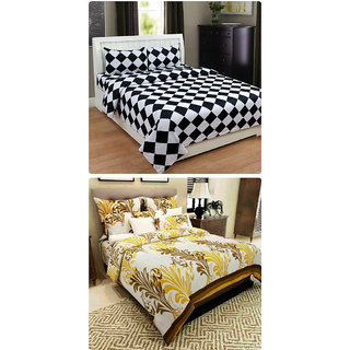 Furnishing Zone New 100% Cotton 90x90 Inches 2 Double Bedsheet With 4 Pillow Covers_FZAHCottonDBCOMB504