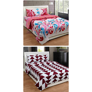 Furnishing Zone New 100% Cotton 90x90 Inches 2 Double Bedsheet With 4 Pillow Covers_FZAHCottonDBCOMB449