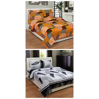 Furnishing Zone New 100% Cotton 90x90 Inches 2 Double Bedsheet With 4 Pillow Covers_FZAHCottonDBCOMB370