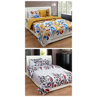 Furnishing Zone New 100% Cotton 90x90 Inches 2 Double Bedsheet With 4 Pillow Covers_FZAHCottonDBCOMB454