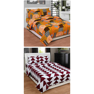 Furnishing Zone New 100% Cotton 90x90 Inches 2 Double Bedsheet With 4 Pillow Covers_FZAHCottonDBCOMB374