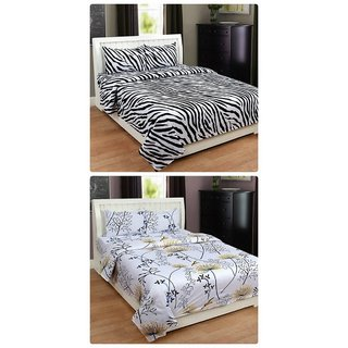Furnishing Zone New 100% Cotton 90x90 Inches 2 Double Bedsheet With 4 Pillow Covers_FZAHCottonDBCOMB509