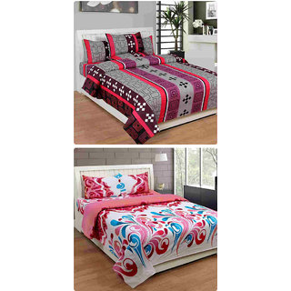 Furnishing Zone New 100% Cotton 90x90 Inches 2 Double Bedsheet With 4 Pillow Covers_FZAHCottonDBCOMB284