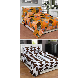 Furnishing Zone New 100% Cotton 90x90 Inches 2 Double Bedsheet With 4 Pillow Covers_FZAHCottonDBCOMB375