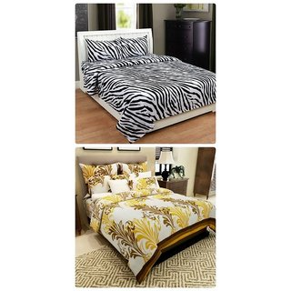Furnishing Zone New 100% Cotton 90x90 Inches 2 Double Bedsheet With 4 Pillow Covers_FZAHCottonDBCOMB510