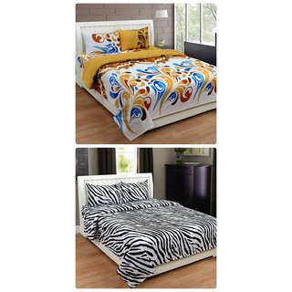 Furnishing Zone New 100% Cotton 90x90 Inches 2 Double Bedsheet With 4 Pillow Covers_FZAHCottonDBCOMB456