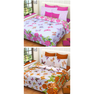 Furnishing Zone New 100% Cotton 90x90 Inches 2 Double Bedsheet With 4 Pillow Covers_FZAHCottonDBCOMB376
