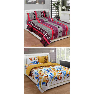 Furnishing Zone New 100% Cotton 90x90 Inches 2 Double Bedsheet With 4 Pillow Covers_FZAHCottonDBCOMB285