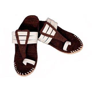 PM TRADERS Men's Multicolor Velvet Ethnic Sandal