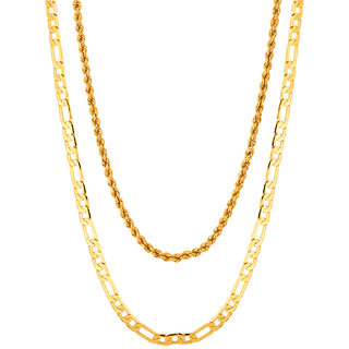 Gold Plated Men's Chain Combo by Sparkling Jewellery (22