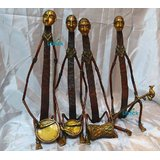 Tribal Musician Group, Set Of 4 Heavy Brass Statues Antique Finish