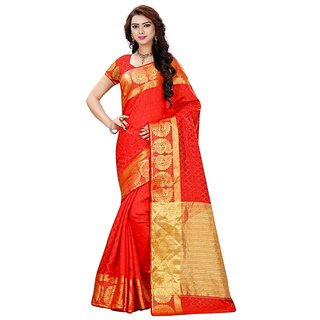 Women's Banarasi Saree (Red Weaving Work Banarasi Silk Designer Traditional Saree)