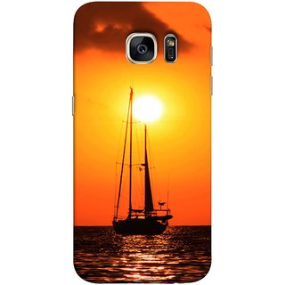 FUSON Designer Back Case Cover for Samsung Galaxy S7 :: Samsung Galaxy S7 Duos :: Samsung Galaxy S7 G930F G930 G930Fd (Sailboat Sailing On The Beautiful Greek Sea Sunset )
