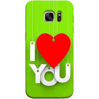 FUSON Designer Back Case Cover for Samsung Galaxy S7 :: Samsung Galaxy S7 Duos :: Samsung Galaxy S7 G930F G930 G930Fd (Just Green Say Always I Love You Red Hearts Couples)