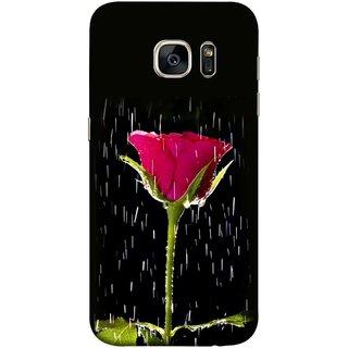 FUSON Designer Back Case Cover for Samsung Galaxy S7 Edge :: Samsung Galaxy S7 Edge Duos :: Samsung Galaxy S7 Edge G935F G935 G935Fd  (Red Rose Love Pink Water Raining Flowers )