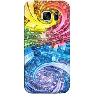 FUSON Designer Back Case Cover for Samsung Galaxy S7 Edge :: Samsung Galaxy S7 Edge Duos :: Samsung Galaxy S7 Edge G935F G935 G935Fd  (Yellow Pink Blue Green Galaxy Waves Circles Sprial)