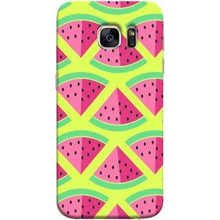 FUSON Designer Back Case Cover for Samsung Galaxy S7 :: Samsung Galaxy S7 Duos :: Samsung Galaxy S7 G930F G930 G930Fd (Watermelon Slice Pattern Of Ripe Handdrawing )