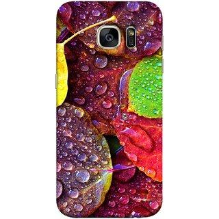 FUSON Designer Back Case Cover for Samsung Galaxy S7 Edge :: Samsung Galaxy S7 Edge Duos :: Samsung Galaxy S7 Edge G935F G935 G935Fd  (Big Leaf Leaves Lotus Raindrops Forest Raining Season)