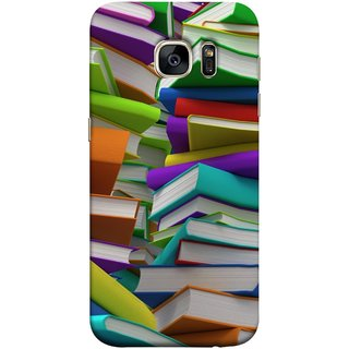 FUSON Designer Back Case Cover for Samsung Galaxy S7 Edge :: Samsung Galaxy S7 Edge Duos :: Samsung Galaxy S7 Edge G935F G935 G935Fd  (Stack Of Colorful Books White Pages School)