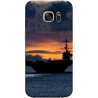 FUSON Designer Back Case Cover for Samsung Galaxy S7 Edge :: Samsung Galaxy S7 Edge Duos :: Samsung Galaxy S7 Edge G935F G935 G935Fd  (Sunrise Sunset With Silhouette Of Navy Ship Sailing Away)